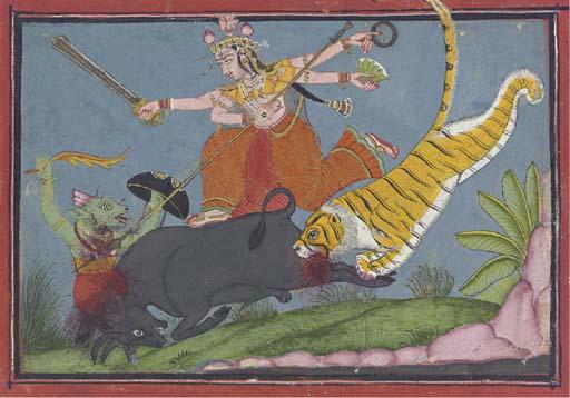 The Goddess Durga Slaying Mahi