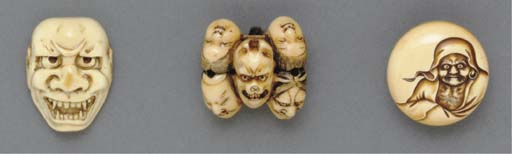 Two Ivory Mask Netsuke and One
