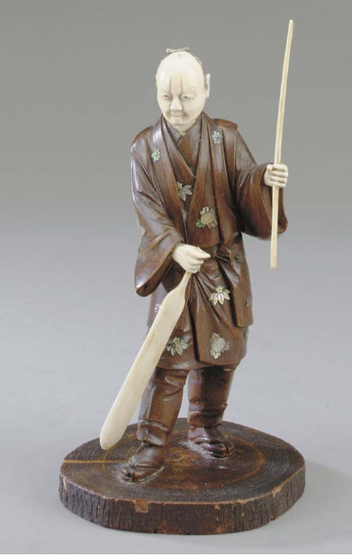 A JAPANESE CARVED WOOD AND IVO