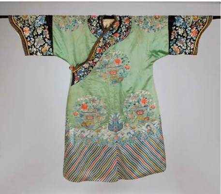 A CHINESE EMBROIDERED PALE GRE