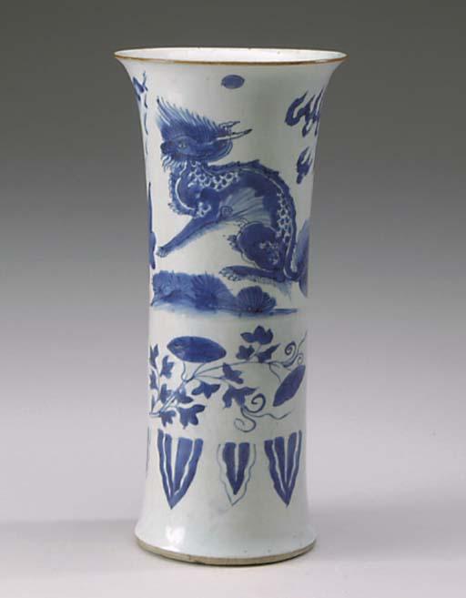 A CHINESE BLUE AND WHITE BEAKE