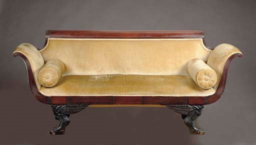 A CLASSICAL CARVED MAHOGANY SO