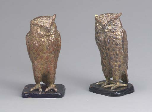 A PAIR OF JAPANESE GILT-COPPER
