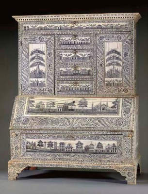 AN ANGLO-INDIAN ENGRAVED IVORY
