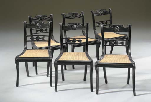 A SET OF SIX ANGLO-INDIAN SOLID EBONY SIDE CHAIRS