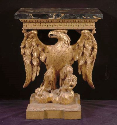 A GEORGE II GILTWOOD EAGLE-FOR