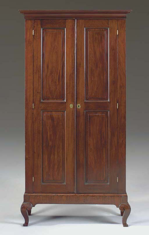 A GEORGE II MAHOGANY CABINET-ON-STAND