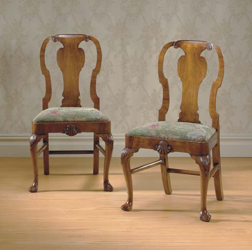 A PAIR OF GEORGE I WALNUT AND BEECHWOOD SIDE CHAIRS