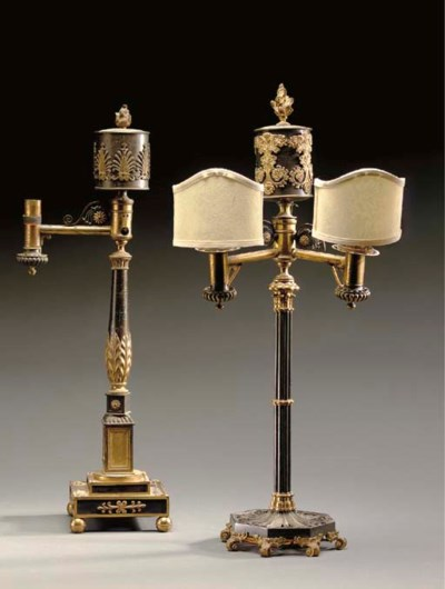 TWO GEORGE IV BRONZE AND GILT-