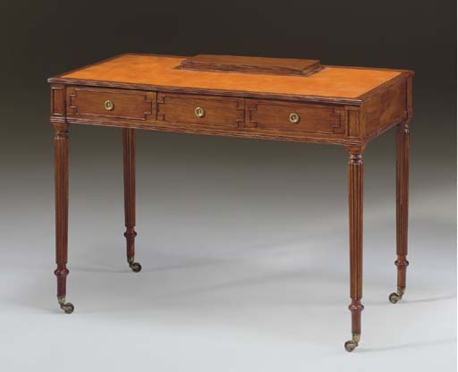 A GEORGE IV BRASS-INLAID ROSEWOOD WRITING-TABLE