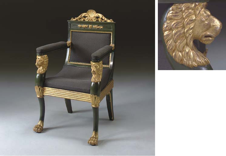 A REGENCY STYLE 'BRONZED' AND PARCEL-GILT ARMCHAIR