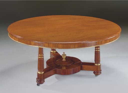 A MAHOGANY AND PARCEL-GILT DINING-TABLE