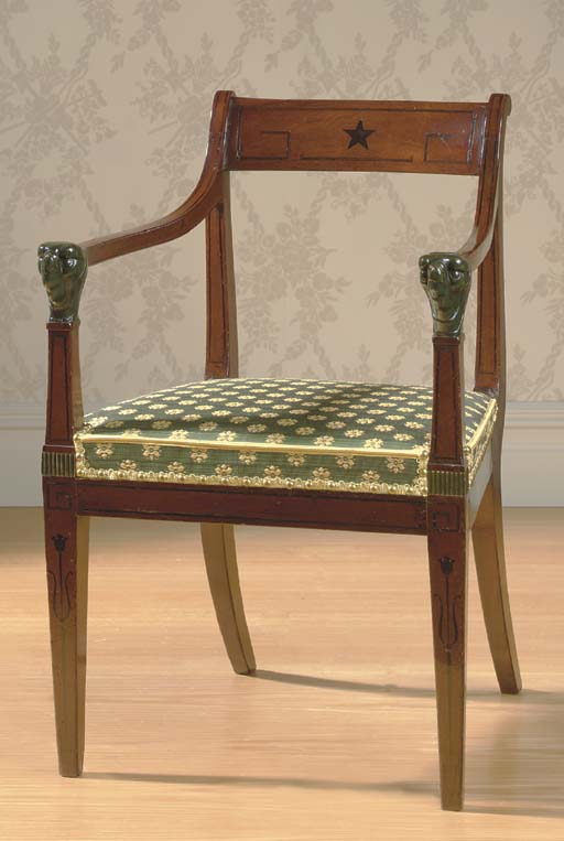 A REGENCY BRASS-MOUNTED, EBONY-INLAID AND 'BRONZED' ARMCHAIR