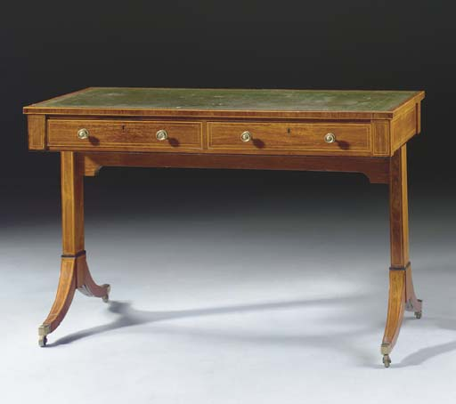 A REGENCY ROSEWOOD AND INLAID WRITING-TABLE