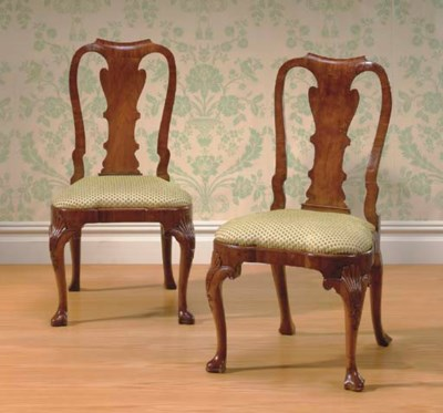 A PAIR OF GEORGE I WALNUT AND
