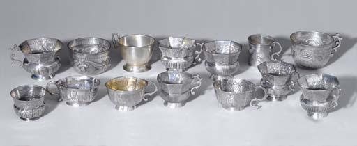 A GROUP OF FOURTEEN SILVER CHA