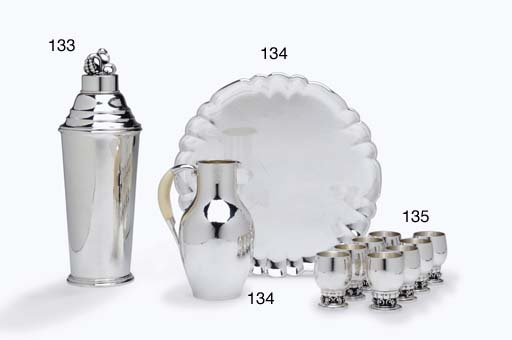 A SET OF EIGHT DANISH SILVER G