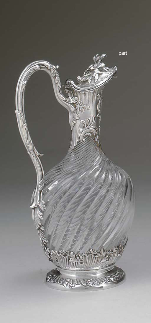 TWO FRENCH SILVER-MOUNTED GLAS