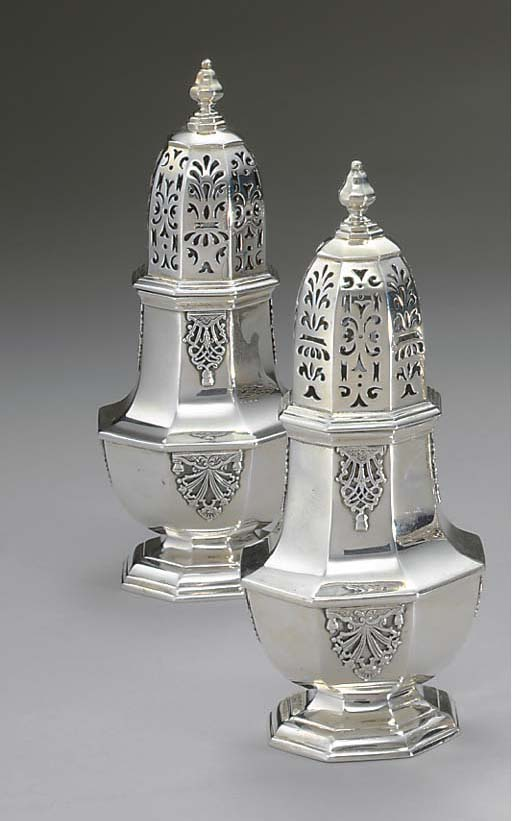 TWO EDWARD VII SILVER CASTERS