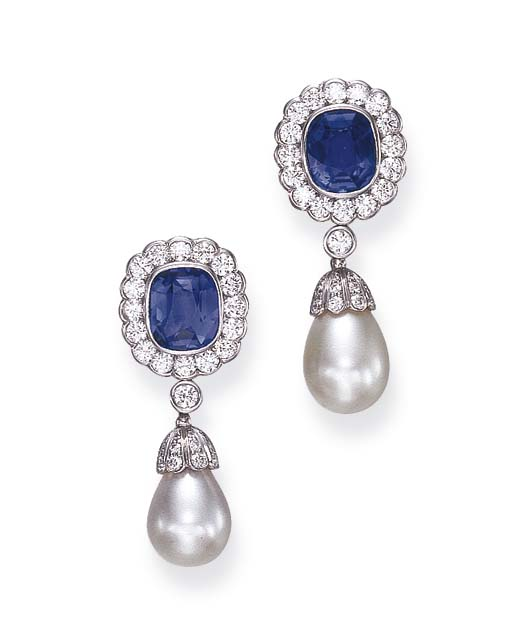 A PAIR OF SAPPHIRE, PEARL AND