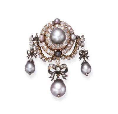 AN ANTIQUE PEARL AND DIAMOND B