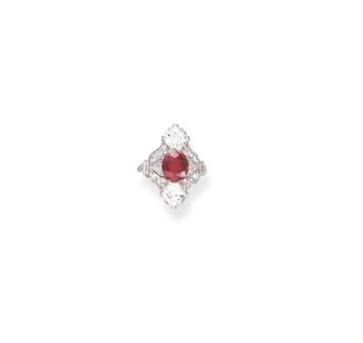 AN ART DECO RUBY AND DIAMOND R