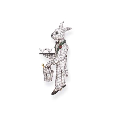 AN ART DECO GEM-SET RABBIT BRO