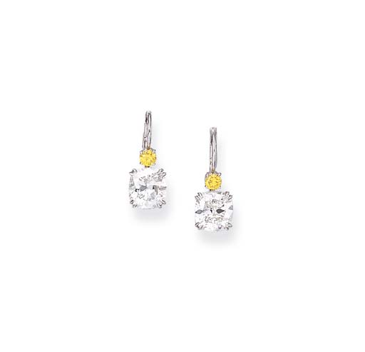 A PAIR OF DIAMOND AND COLORED