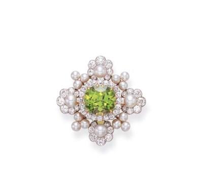 A DIAMOND, PEARL AND PERIDOT B