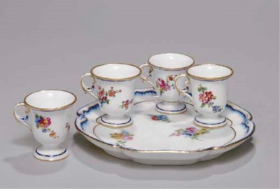 FOUR SEVRES FOOTED ICE CUPS (T