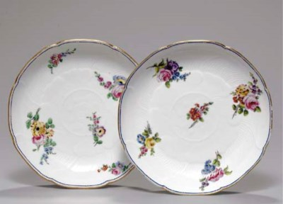 TWO SEVRES LOTUS-MOULDED CIRCU