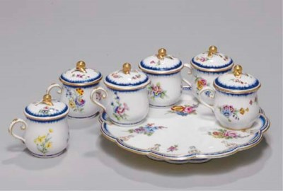 SIX SEVRES JUICE POTS AND COVE
