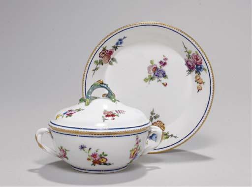 A SEVRES ECUELLE AND COVER AND