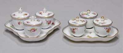TWO SEVRES TRIPLE-JAM POTS AND