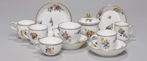 AN ASSEMBLED SEVRES PART SERVI