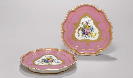 TWO SEVRES PINK-GROUND HEXAFOI