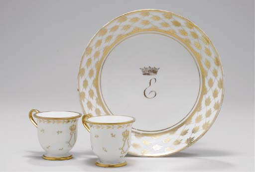 TWO SEVRES GILT WHITE ICE-CUPS