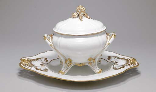 SEVRES (HARD PASTE) GILT-WHITE