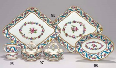 TWO SEVRES TRIPLE SALTS FROM T