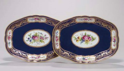 TWO SEVRES BLUE GROUND SHAPED