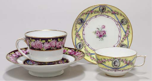 TWO SEVRES CUPS AND SAUCERS