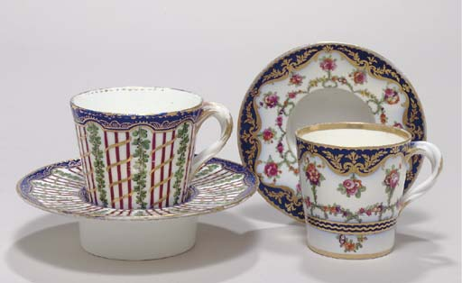 TWO SEVRES CUPS AND SAUCERS (G