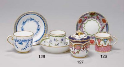 A SEVRES CUP AND SAUCER (GOBEL
