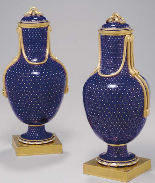 A PAIR OF SEVRES BLEU TAILLAND