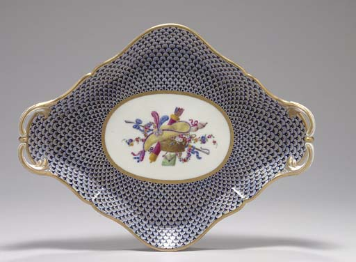 A SEVRES SCALE-PATTERN TRAY (P