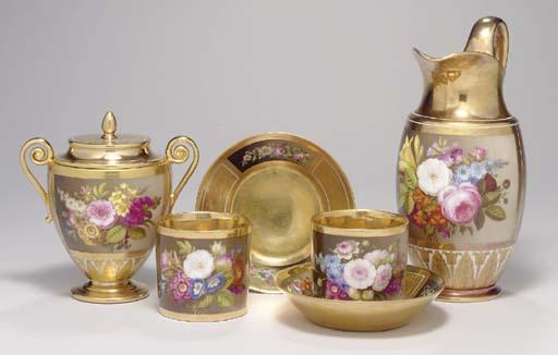 A SEVRES GOLD GROUND PART TEA