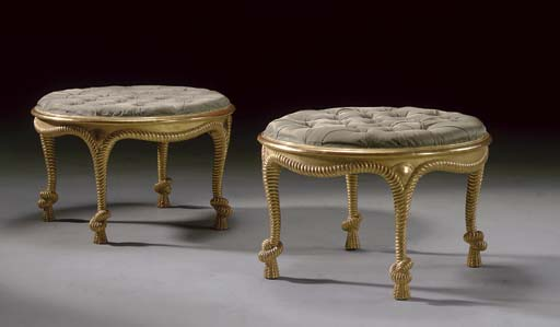 A PAIR OF FRENCH GILTWOOD STOO