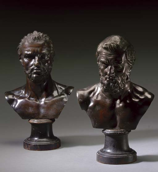 A PAIR OF BRONZE BUSTS OF MEN