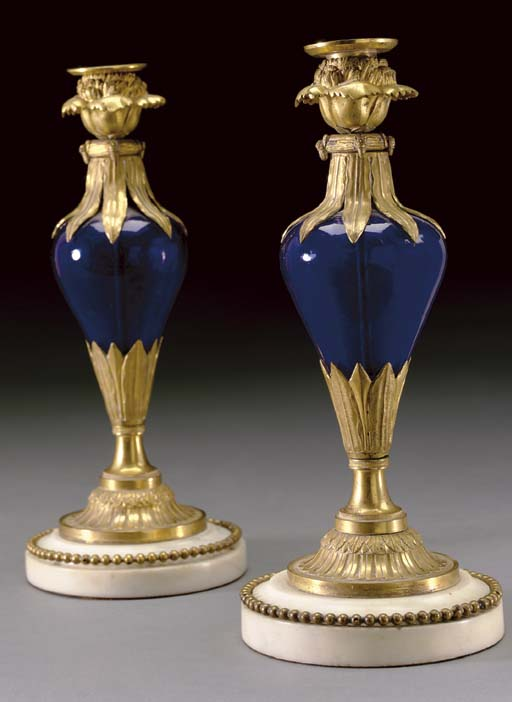 A PAIR OF BALTIC ORMOLU, BLUE