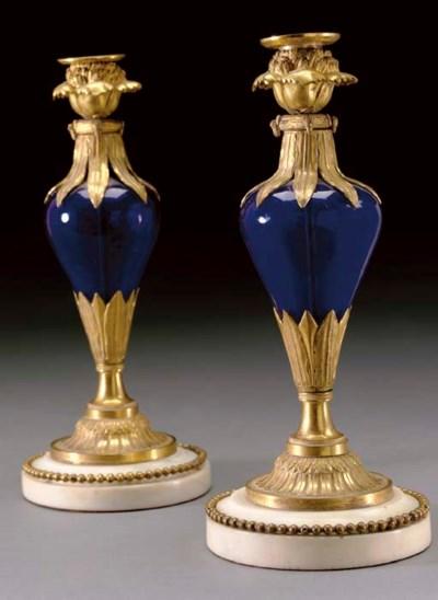 A PAIR OF BALTIC ORMOLU, BLUE